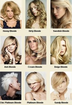 9 various shades of blonde hair color.