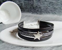 bracelet manchette multi lien cuir etoile argenté noir paillette pailleté élégant soirée : Bracelet par mesbijoux-gourmands
