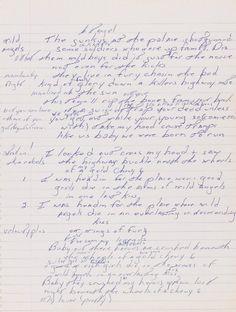 Bruce Springsteen handwritten lyrics