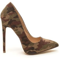 GREEN Head To Toe Faux Nubuck Camo Pumps ($28) ❤ liked on Polyvore featuring shoes, pumps, green, pointy toe stiletto pumps, high heel pumps, green high heel pumps, green shoes and green stilettos