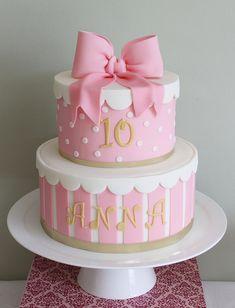 Round pink and white present/hatbox birthday cake