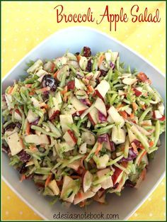 Broccoli Apple Salad - packaged broccoli slaw, dried cranberries, apples, and almonds tossed with bottled poppyseed dressing. Apple Broccoli Salad, Broccoli Slaw Recipes, Apple Salad, Salad Recipes, Broccoli Slaw Dressing, Fruit Salad, Tomato Salad, New Recipes, Vegetarian Recipes