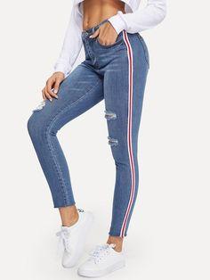 0e74a44871813 Ripped Raw Hem Tuxedo Stripe Jeggings Ripped Raw Hem Tuxedo Stripe Jeggings  [pants181221954] -