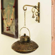Handcrafted Iron Degchi Handi Pot - A Dhoop Incense Holder with Brass Bell Art Iron Hanger Modern Kitchen Interiors, Home Decor Kitchen, Kitchen Ideas, Home Decor Hooks, Meditation Room Decor, Pooja Room Door Design, Spiritual Decor, Bell Art, Puja Room