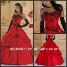 Sweetheart Embroidery Bubble Red and Black Wedding Dresses