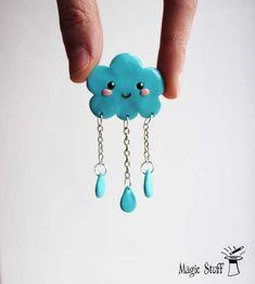 Cloud brooch Cloud pin Cloud badge Happy cloud Rainy cloud