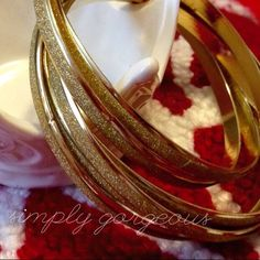 Gold Glitter Bracelets * NWOT All that glitters is gold~  These are no exception, fun, linked, 6 linked bracelets. Perfect for everyday or dress up an outfit.  no trades, no PP* thanks for looking & sharing @keg90 Charming Charlie Jewelry