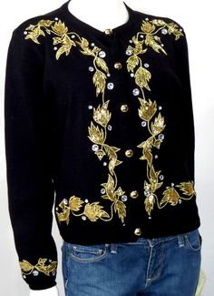 Vintage Anne Klein Black Cotton Embroidered Beaded Rhinestone Cardigan * #AnneKlein
