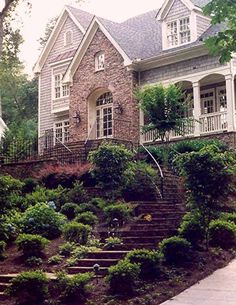 Steep front yard landscaping and walkway