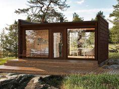 Attefallshus - Nyckelfärdigt & högsta kvalitet #1 Guest House Plans, Modern House Plans, Small House Plans, Glass House Design, Tiny House Design, Modern Tiny House, Tiny House Cabin, Small Summer House, Garden Cabins