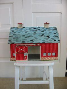 Vintage Toy Barn Metal Children Farm Tin Red by vintagejane