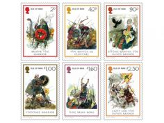 Battle of Clontarf commemoration stamps. Manx Vikings - led by Brodir - took a major role in the battle