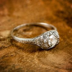 «Guess: Platinum or White Gold? #tbt #antique #engagement #ring»