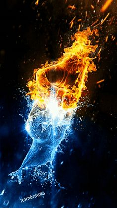 stoepsorama Fire and ice Fire and ice artisgifisart Mehr<br> Fire And Ice Wallpaper, Galaxy Wallpaper, Cool Wallpaper, Wallpaper Backgrounds, Gif Kunst, Fire N Ice, Elemental Powers, Fire Tattoo, Flame Art