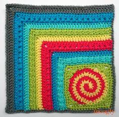 Moogly CAL 2017 Block Dizzy Corner Afghan Square by - free crochet pattern. Crochet Motif Patterns, Crochet Blocks, Granny Square Crochet Pattern, Crochet Squares, Crochet Granny, Diy Crochet, Granny Squares, Crochet Afghans, Crochet Designs