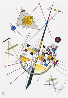 Kandinsky's Mild tension: This painting struck me as unique amidst Kandinsky's paintings, because when I saw it, I immediately saw the music behind the art. It almost looks like a cello or bass, and you can sense the tension of the strings in the lines. Then the other smaller shapes add music to the instruments, and bring the picture to life.