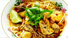 Malay curry laksa (laksa lemak) recipe : SBS Food This will make your mouth water. So yum.