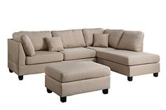Modern Contemporary Polyfiber Fabric Sectional Sofa and Ottoman Set Sand Beige * More info could be found at the image url. Sofa Couch, Chaise Sofa, Upholstered Sofa, Couches, Simple Furniture, Cheap Furniture, Furniture Ideas, Furniture Buyers, Furniture Removal