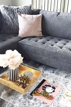 The Vapor Sectional in Charcoal is looking beautiful when paired with blush!