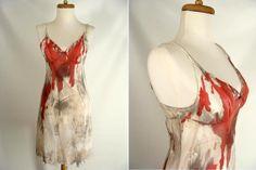 Vintage Lingerie Bloody Nylon Slip SEXY ZOMBIE Vampire Halloween Costume XS Vassarette by wardrobetheglobe, $40.00