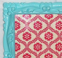 Vintage Aqua and Red Shabby Chic Picture Frame / Upcycled Wall Hanging Decor / Magnet Photo Board Chalkboard Classroom, Classroom Decor, Aqua Color, Teal, Turquoise, Colour, Dorm Color Schemes, Eclectic Frames, Aqua Rooms