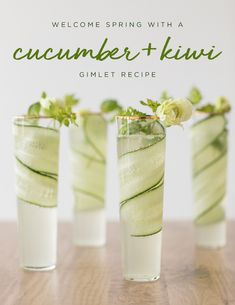 Welcome Spring with a Cucumber + Kiwi Gimlet Recipe is an easy and delicious coc. - - Welcome Spring with a Cucumber + Kiwi Gimlet Recipe is an easy and delicious cocktail to make this spring! Using gin, cucumber and kiwi simple syrup. Summer Cocktails, Cocktail Drinks, Cocktail Recipes, Alcoholic Drinks, Cocktail Movie, Cocktail Sauce, Cocktail Attire, Cocktail Shaker, Cocktail Dresses