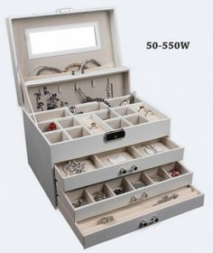 Všetko pre modernú domácnosť | homedesignsk.sk - Luxusná kožená šperkovnica 4 podlažná biela