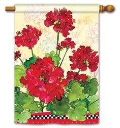 Spring Geraniums and Checks House Flag FREE shipping!