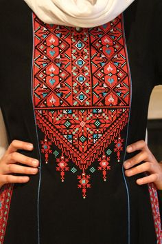 Palestinian Embroidery On Kurtis, Embroidery On Clothes, Types Of Embroidery, Embroidery Needles, Cross Stitch Embroidery, Embroidery Patterns, Hand Embroidery, Cross Stitch Borders, Cross Stitch Designs