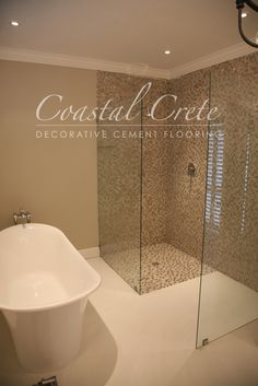 Coastal Crete Flooring - Lily White Self-levelling Colour Cement Flooring Bedding And Bath, House, New Homes, Home Deco, Cement Floor, Bathroom, Flooring, Floor Colors, Bathroom Flooring