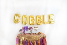 GOBBLE Balloon Banner Letter Balloons Thanksgiving by StudioPep