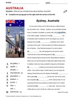Australia, English, Learning English, Vocabulary, ESL, English Phrases, http://www.allthingstopics.com/australia.html