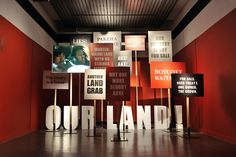 Signage - demonstrating political context for an exhibition
