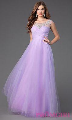 Floor Length Cap Sleeve Ball Gown at PromGirl.com