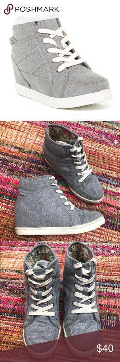 "Roxy ""ALEXA"" hidden wedge sneakers Light grey hidden wedge sneakers they lace up the front - great used condition Roxy Shoes Wedges"