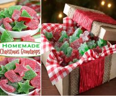 Homemade Gumdrops With Jello Recipe Video Tutorial Homemade Christmas Gifts, Christmas Goodies, Christmas Candy, Christmas Treats, Holiday Treats, Christmas Stuff, Jello Recipes, Candy Recipes, Holiday Recipes
