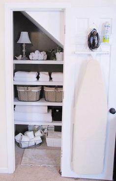 Hang your board, iron, and spray on the door so the next time you're running 10 minutes late and need to press your dress, you don't decide it's easier to be a wrinkled mess all day long instead (been there, done that). See more at Beneath My Heart » - GoodHousekeeping.com