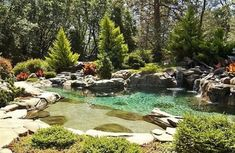 Natural pond design swimming pool with water features Natural Swimming Ponds, Natural Pond, Swimming Pools, Natural Garden, Pond Design, Modern Garden Design, Beautiful Pools, Gorgeous Gorgeous, Ponds Backyard