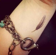 Little Feather Tattoo for Wrist...placement I want, but feather a little bigger