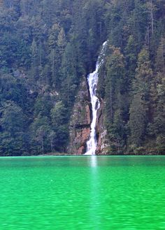 Schrainbach waterfall, Lake Königssee is a beautiful emerald green glacial lake set in the Berchtesgaden National Park in Bavaria, Germany