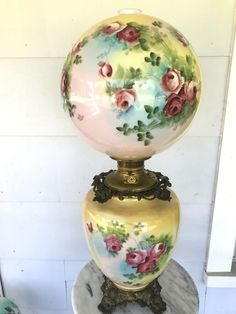 Antique Victorian Gone with the Wind Oil Lamp Hand Painted Roses Fostoria - Lamp Ideas Painted Roses, Hand Painted, Victorian Floor Lamps, Red And Pink Roses, Antique Lamps, Gone With The Wind, Oil Lamps, Lamp Bases, Fine Dining