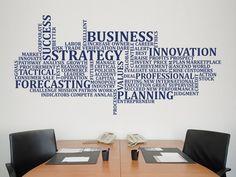 BUSINESS - Wall Sticker, Office Wall Decal, Decor for Office, Removable Vinyl Sticker, Office Wall A Office Wall Design, Office Wall Decals, Office Walls, Wall Sticker, Office Art, Office Decor, Vinyl Decor, Wall Decor, Office Branding