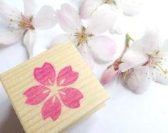 Cherry blossom stamp, Spring stamp, Flower stamp, Sakura, Japanese rubber stamp, Pink flower, Spring wedding