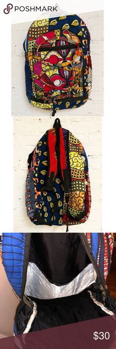 Take Me to Wakanda! Backpack Large African print backpack for multi-use. Great condition, however a new zipper must be replaced along with a set of metal adjusters on the back of the bag. Handmade with ❤️ in Ghana, West Africa. Bags Backpacks