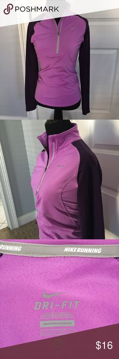 Nike Dri-fit running 3/4 zip pullover. Nike Dri-fit running 3/4 zip pullover. Size XS. Lilac torso with dark purple sleeves. Excellent condition. No thumb holes. Bundle and save on your workout gear! Nike Tops