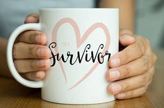 Survivor Coffee Cup, Heart, Motivational Mug, Gift for her, Chemo Gift, Fight Cancer, Cancer Awareness, Coffee Lover, Cancer Sucks