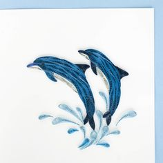 Dolphins quilled greeting card -by Quilling Card