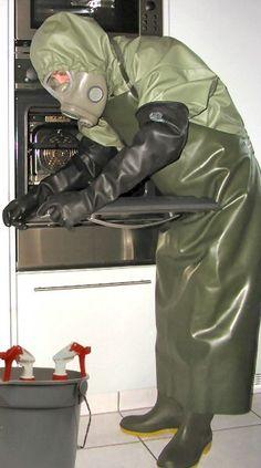 Mackintosh Raincoat, Latex Suit, Gas Masks, Rain Wear, Aprons, Gloves, Leather Jacket, Suits, How To Wear