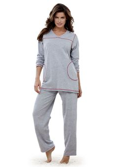 Topstitched pajamas by Dreams & Co® | Plus Size Pajamas - Sets | Roamans