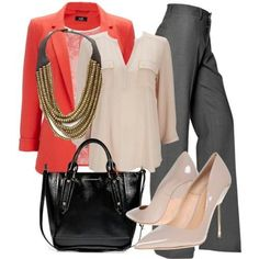 Office / gray slacks / neutral blouse and shoes with a pop of color blazer